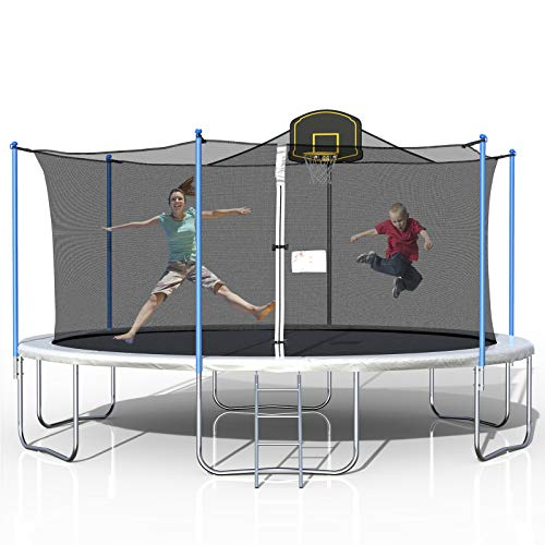 good quality trampolines 16FT Trampoline for Kids, Outdoor Trampoline with Safety Enclosure Net Basketball Hoop and Ladder, Trampoline for Adults (Black)