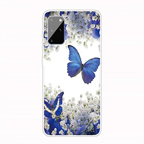 Lanpangzi Kompatibel mit Samsung Galaxy A81/Note 10 Lite Hülle + 2*Displayschutzfolie TPU Silikon Transparent Ultradünn Handyhülle Anti-Kratzer Schutzhülle - Blumen und Schmetterlinge