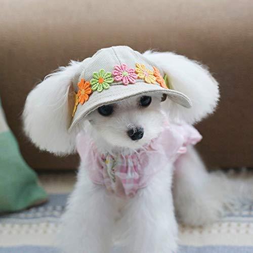 VICTORIE Haustier Hut Mütze Kappe Sonnenschutz Outdoor Kostüm mit Ohrlöcher Einstellbar für Hund Katze Gänseblümchen M