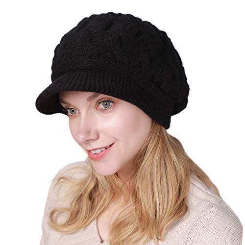 vamei Wintermütze Damen Mütze mit Shirm Damen Schirmmütze Damen Baskenmütze Beanie Barett Warm Strickmütze Winter Fleece Innerhalb Gefütterte Mütze Damen