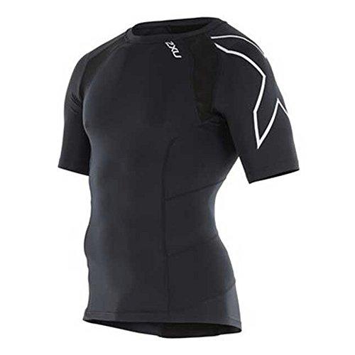 2XU Men's Short Sleeve Compression Top, Black/Silver, Medium