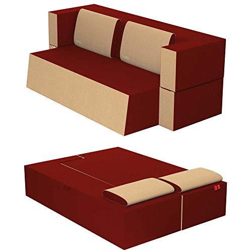 Baldiflex Divano Letto 2 Posti Modello Praticho in Poliuretano e Memory Foam, Rivestimento Sfoderabile e Lavabile, Colore Rosso Pompeiano