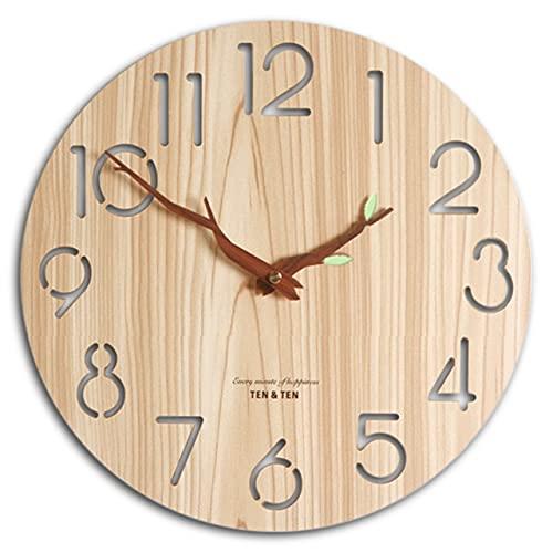 【VICHE CATT】 木製 壁掛け時計 北欧 インテリア 時計 枝型指針 おしゃれ 壁掛け ナチュラル 掛け時計 壁時計 かけ時計  (ナチュラルブラウン)