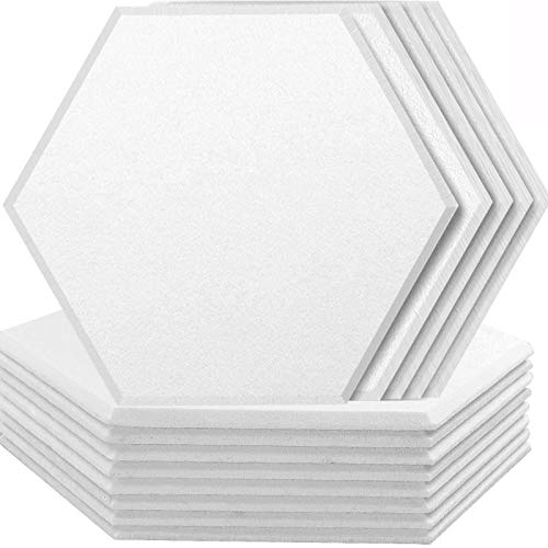 ZHERMAO 20 Pack Acoustic Panels Sound Dampening Panels, 14 X 13 X 0.4 Inches Sound Proof Padding, Used for Soundproofing and Acoustic Treatment(Hexagon white