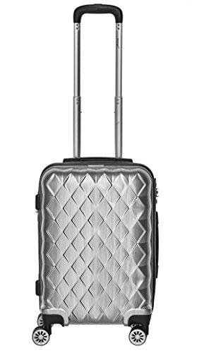 Packenger Bordcase - Atlantic - (M), Silber, 4 Zwillingsrollen, 38 Liter, 2,8Kg, Koffer mit TSA-Schloss, Erweiterbarer Hartschalenkoffer, Trolley