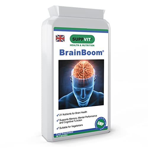 BrainBoom Brain Support Health Supplement Nootropics   90 Capsules   for Cognitive Function, Concentration, Memory, Focus & Energy   Ginkgo Biloba & Bacopa Monnieri   UK Manufactured
