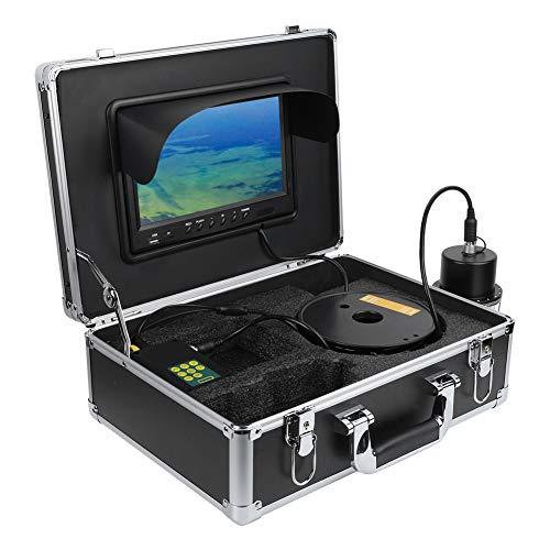 Cámara de Pesca submarina Grabadora DVR de 9 Pulgadas IP68 Cámara de Video con buscador de Peces a Prueba de Agua con Estuche, Monitor panorámico con rotación de 360 °, Cable de 100 m(YO)
