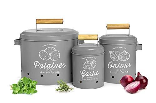 Sendez 3 Vorratsbehälter Kartoffeltopf Knoblauchtopf Zwiebeltopf Aufbewahrung Vorratsdosen aus Metall Grau Matt