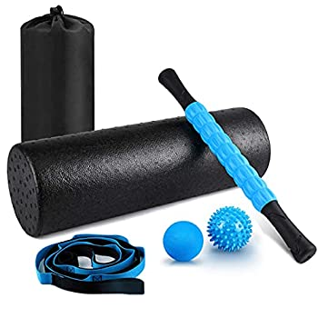 """KeShi Foam Roller Set 18"""" Muscle Foam Roller 17"""" Massage Roller Stick Spiky Massage Ball Solid Ball and Stretching Strap Perfect for Pain & Tightness Relief Home Gym Set"""