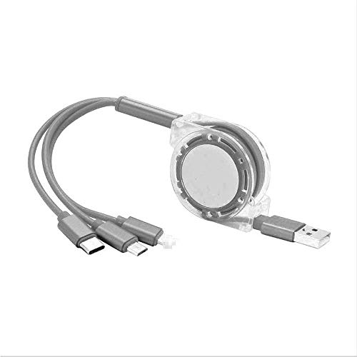 Triple USB Charging Cable with USB for Mobile Phones/Huawei/Samsung Delayed Three Telescopic Multifunction Data Lines Fast Line Rechargeyour,Silver