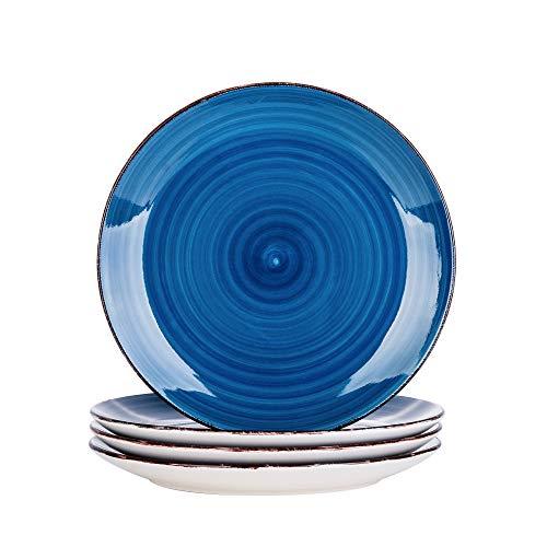 vancasso Serie Bella Azul Platos de Cena 4 Piezas, Platos Llanos 27cm Platos de Gres, Vajillas Retro