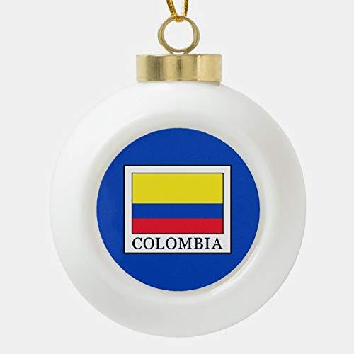 Dom576son Bola de Navidad Adornos Colombia, Bola de cerámica Ornamento de Navidad, Inastillable, Decoración de Navidad Bolas de árbol para día festivo Boda Fiesta Decoración