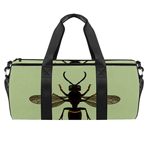 Travel Beach Bags Sport Gym Duffle Overnight Shoulder Bee Pattern Large Bag with Dry Wet Pocket
