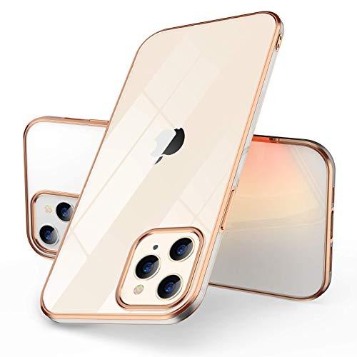 CAFELE Ultra Dünn Hülle - Silikon Transparent Handyhülle Kompatibel mit 12, Farbigem Kante Weiche Cover Hülle Flexibel Schutzhülle (6,1 Zoll Gold/Rosé Gold)