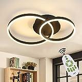 ZMH Lampada da soffitto a LED soggiorno nero plafoniera dimmerabile con 2 anelli Lampada da sala da pranzo 45W moderna design luci in acrilico e alluminio per camere da letto casa corridoio salotto