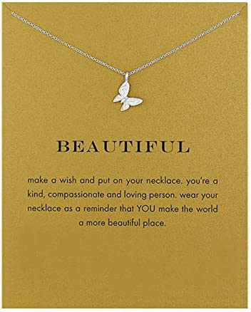 Friendship Compass Necklace Good Luck Butterfly Pendant Chain Necklace with Message Card Gift product image