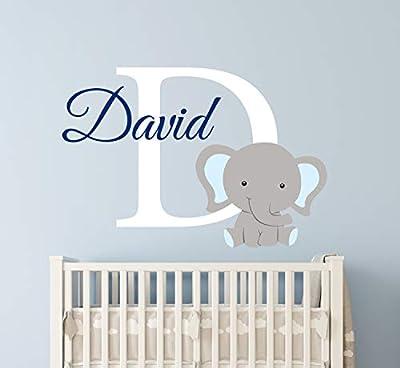 "Custom Elephant Name Wall Decal for Boys - Nursery Wall Decals - Baby Room Decor - Elephant Wall Art Vinyl Sticker Decor Vinyl Sticker (36""W x 24""H)"