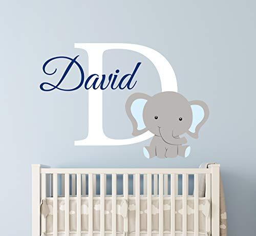 calcomanía de vinilo para pared con nombre de elefante personalizado para niños, decoración de habitación de bebé, diseño de elefante, 36'W x 24'H, 1
