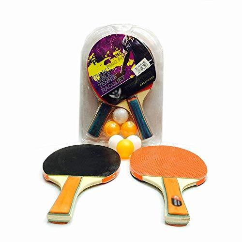 FEOPW Dicker Tischtennisschläger, Positives und Negativer Gummi Pingpong Brett, 2 Torschüsse, 3 Bälle, Tischtennisschläger-Set tischtennisschlaeger Jugend (Color : RED)