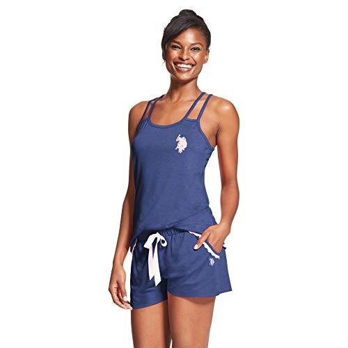 Price comparison product image U.S. Polo Assn. Womens 2 Piece Sleeveless Tank Top Elastic Waist Pajama Shorts Set Tribal Navy Heather Medium