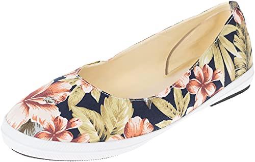 Unbekannt Damen Schuhe Hibiskus Blüten Ballerinas Mehrfarbig Slipper 40