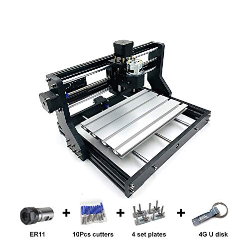 CNC 3018 Pro Router kit GRBL Controler 2 in-1 Milling Engraving Machine For Wood DIY Desktop 3 Axis Plastic Acrylic PCB Machine PVC Wood Carving Engraver XYZ Working Area 300 x 180 x 43mm