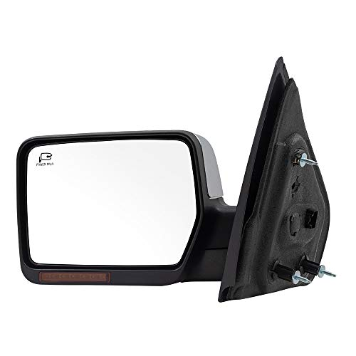 BROCK Power Mirror Replacement for 2007-2008 Ford F-150 Pickup Truck Drivers Side Chrome Pedestal Type Power Folding Heated Signal Memory Puddle Lamp 8L3Z 17683 AA 8L3Z17683AA