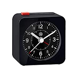 Marathon Mini Travel Alarm Clock, Silent Sweep, No Ticking, Auto Back Light and Snooze Function - CL030065BK-BK2 (Black/Black)