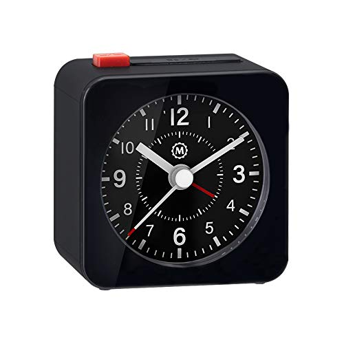 Marathon Mini Travel Alarm Clock, Silent Sweep, No Ticking, Auto Back Light and Snooze Function -...