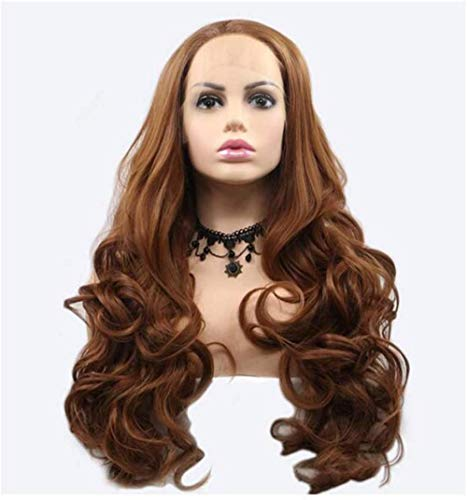 Peluca larga de color marrón de alta temperatura, onda larga ondulada, peluca sintética marrón peluca rizada, peluca de pelo Cosplay chica fiesta disfraz uso diario actor estrella ancla