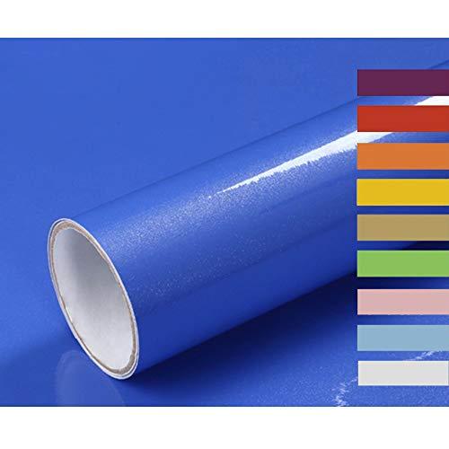 Hode Selbstklebende Folie Möbelfolie Hochglanz Blau Dekorfolie Klebefolie für Möbel Kühlschrank Schrank Tür Geschirrspüler Wasserdicht Dunkelblau 40x300cm Mit Glitzer