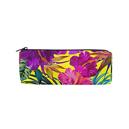 JNlover - Estuche de lápices con hojas de palma, diseño floral, redondo, para escritorio, para adolescentes, niños, oficina