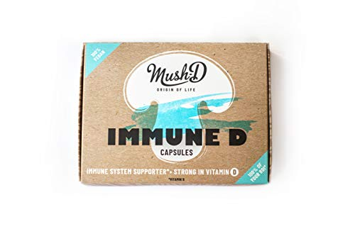 Immune-D Kapseln für ein starkes Immunsystem - natürliches Vitamin D und Beta Glucan aus Pilzen (Agaricus Bisporus, Agaricus Blazei Murill) | Pflanzlich | Monatsvorrat