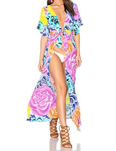 Kopper & Zink Genevieve Deep-V Maxi Dress, Flower Bomb (Small)