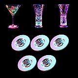 Neo LOONS 5 Pcs Colorful LED Light up Coaster LED Bar Coaster Bottle Light Sticker for Birthday Wedding Christmas Bar Party Decorations