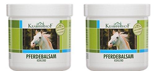 2 x Pferdebalsam kühlend 500 ml Gel Kältegel Pferdesalbe Salbe Balsam Massage mit wertvollen Kräuterextrakten aus Rosskastanie, Arnika, Rosmarin und Minzöl