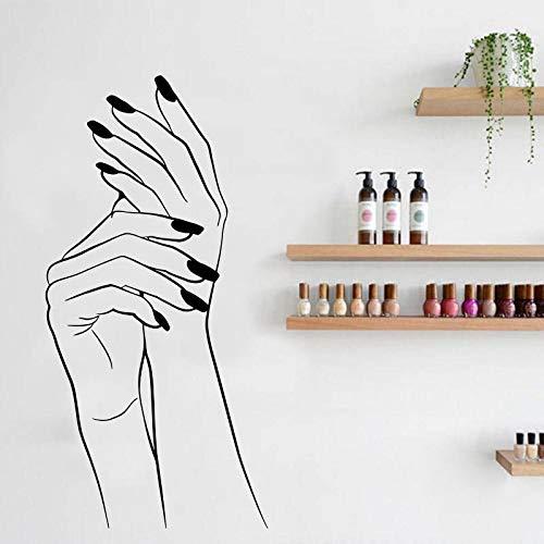 Nagelsalon Muursticker Vinyl Nail Manicurist Nagellak Nail Muursticker Vrouw Vinger Nagelsalon Decoratieve Muurschildering 70x140cm