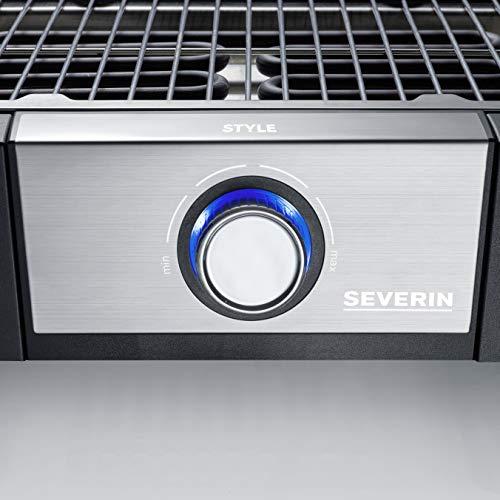 Severin PG 8112 Barbecue Elettrico Style, Temperatura Fino a 320°C in 10 Minuti, Safe Touch, Manopola con Luce LED, Cavo XXL 2 m, Griglia in Acciaio Inossidabile, Nero/Grigio