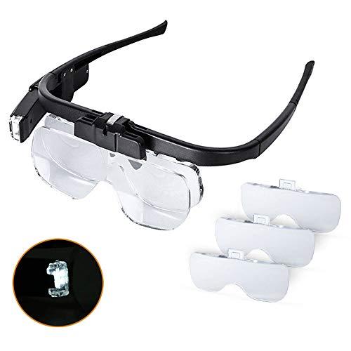 YZT QUEEN Gafas Lupa, 1.5X 2X 2.5X 3.5X 4X 4.5X Lupa Recargable de iluminación LED para Reparaciones de Relojes, Herramientas de Aumento de artesanía o como Herramientas Generales de Lectura