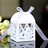 S-TROUBLE 50pcs / Set Christmas Laser Cut Hollow Favors Gifts Candy Box con Cinta Baby Shower Suministros para Fiestas de Boda