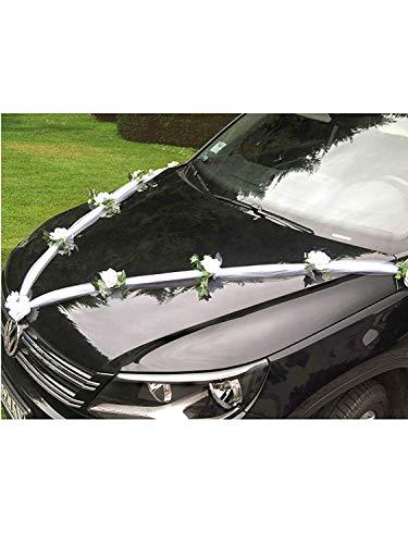 Guirnalda para decoración de coche con tul y rosas - Like a Girl - Nos encantan bodas - Decoración para puerta de coche de boda
