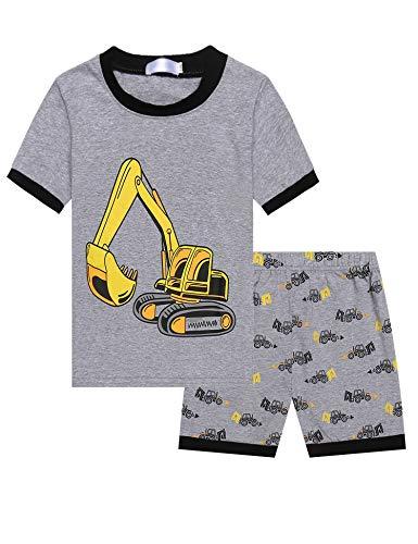 Bricnat Kinder Schlafanzug Jungen Bagger Kurz Pyjama Set Jungs Zweiteilige Nachtwäsche Baumwolle Kurzarm Sommer 98
