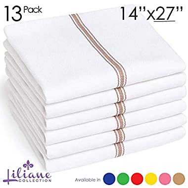 Liliane Collection 13 Beige Kitchen Dish Towels - 27  x 14  2-ply Commercial Grade Absorbent 100% Cotton Kitchen Towels - Classic Herringbone Tea Towels