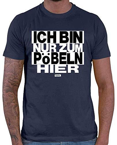 HARIZ Herren T-Shirt Ich Bin Nur Zum Pöbeln Hier Sprüche Schwarz Weiß Plus Geschenkkarte Navy Blau M