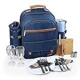 Sunflora Isolierter Picknick-Rucksack für 2 Personen Tasche mit Kühlfach, Weinbeutel, Decke und...