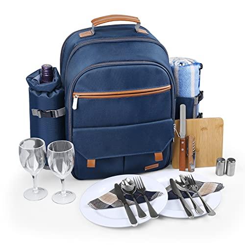 Sunflora - Mochila de picnic aislada para 2 personas con compartimento más fresco, bolsa para vino, manta y juego de cubiertos de acero inoxidable para parejas, amantes y amigos (azul marino)