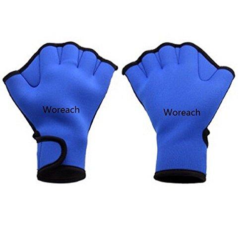 Woreach Aquatic Gloves Water Resistance Swim Training Gloves (1 Pair) (Blue, M)