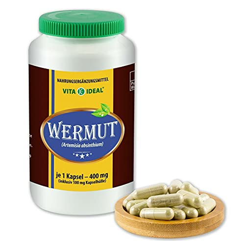VITAIDEAL ® Wermut (Artemisia absinthium) 90 Kapseln je 400mg, aus rein natürlichen Kräutern, ohne Zusatzstoffe von NEZ-Diskounter
