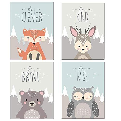 4er Set Tiere Poster für Kinder in A4 Bilder Kinderzimmer Deko Junge Mädchen Wunderschöne Poster für das Kinderzimmer Kinderzimmer Waldtiere Zimmer Bilder