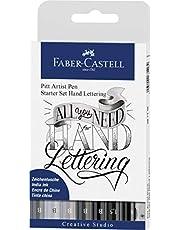 Faber-Castell Pitt Artist Pen Kaligrafi Seti, 8'li, Siyah/Gri Tonları